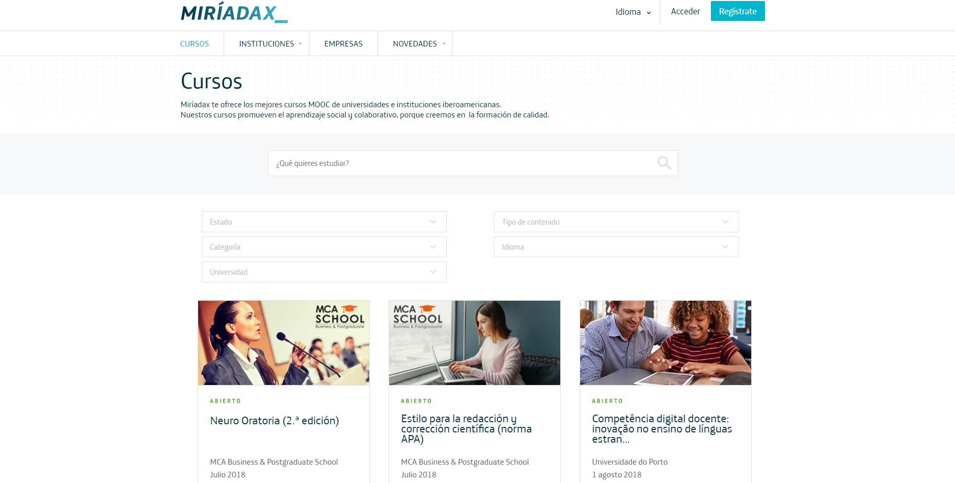 Miríadax - Cursos MOOC de universidades e instituciones iberoamericanas